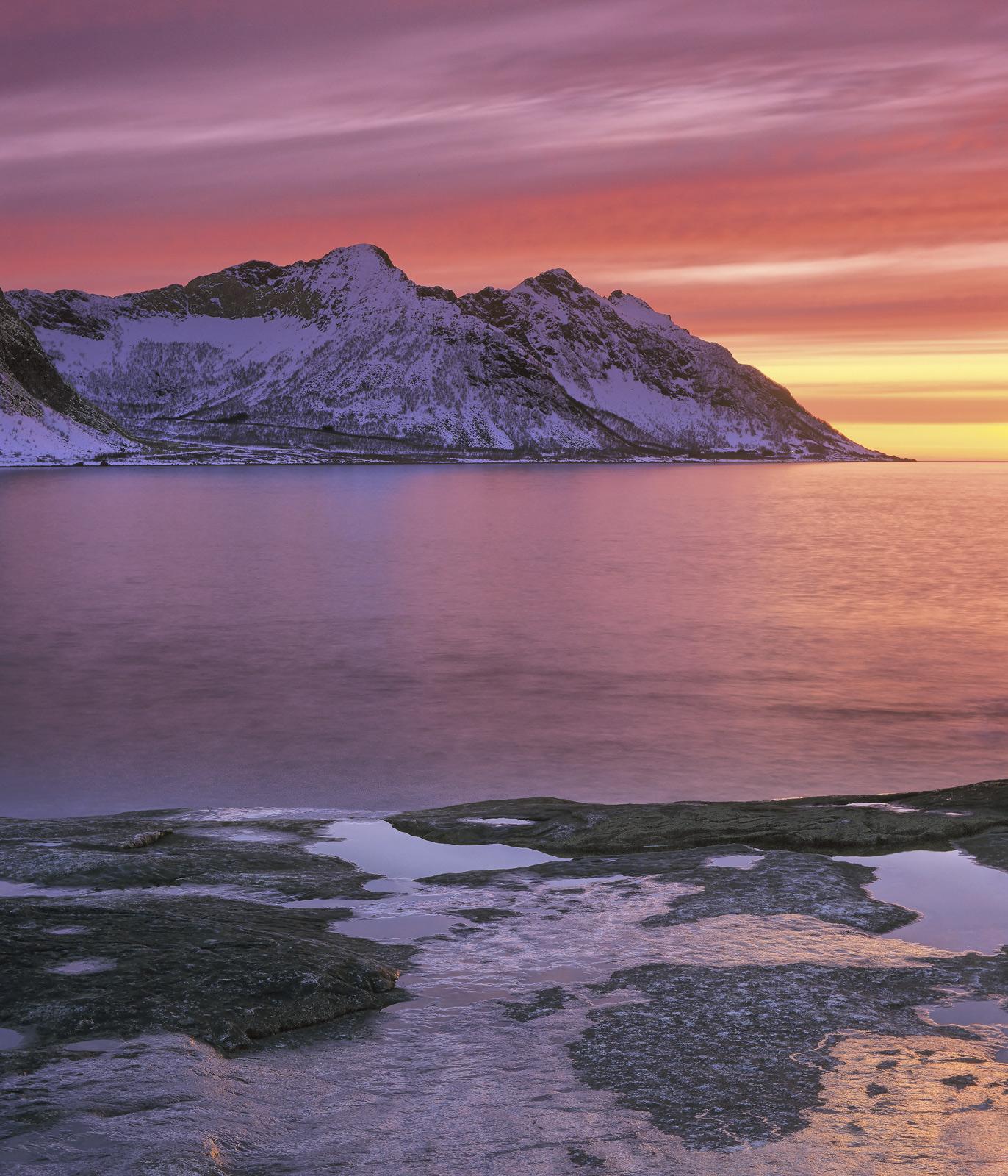 Tungeneset Sunset, Tungeneset, Senja, Norway, stunning, sunset, iconic, contrast, sea, land , photo