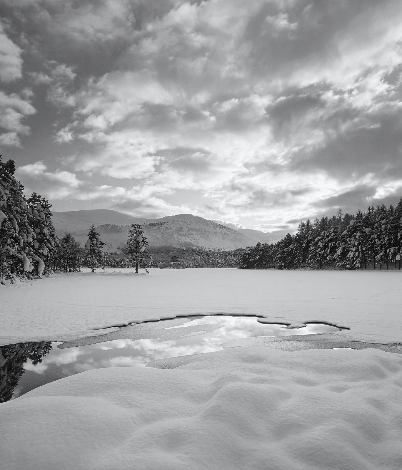 Deep marshmallow pillows of snow at Loch an Eilein this time represented in black and white the quality of the sky lending itself...