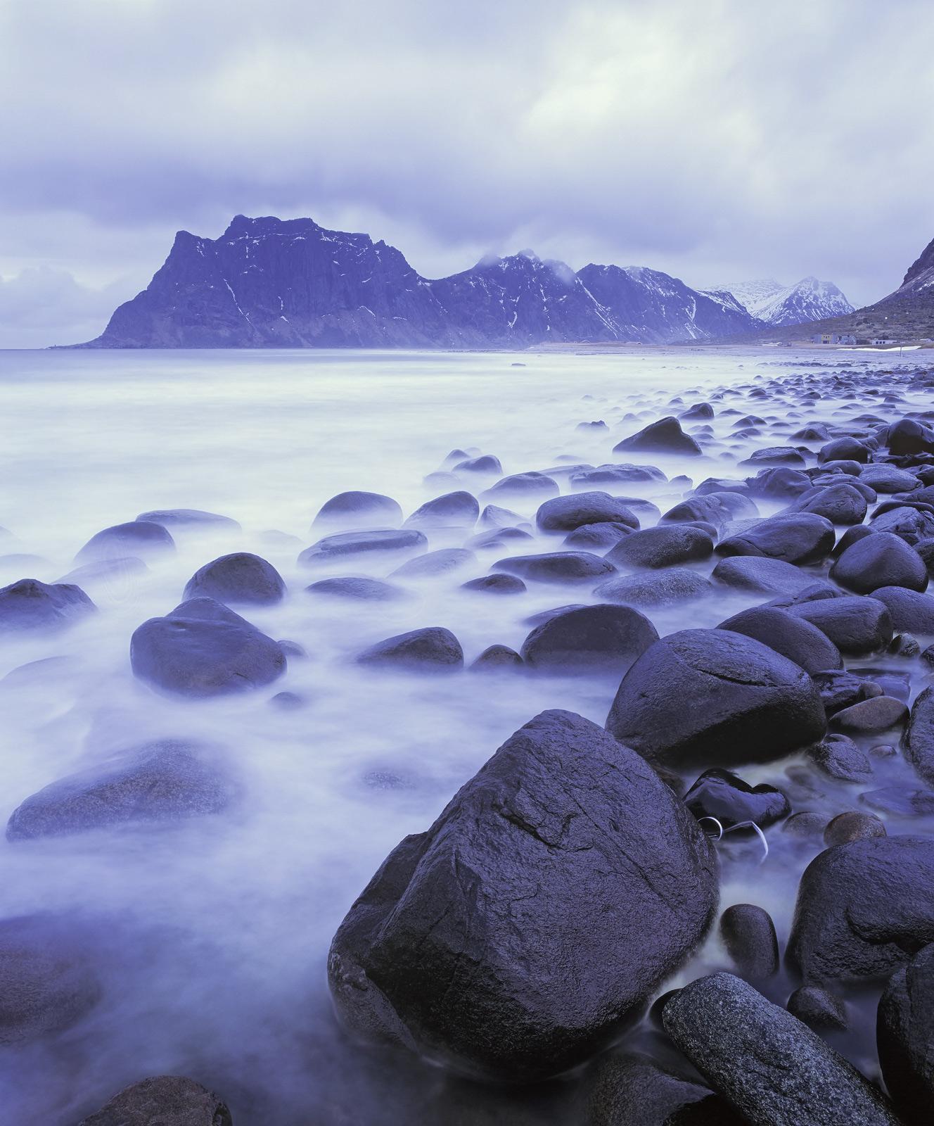 Uttakliev Blue, Uttakliev, Lofoten, Norway, cold, winter, twilight, blue, evident, cold, palette, steely, mist, sea, sme, photo
