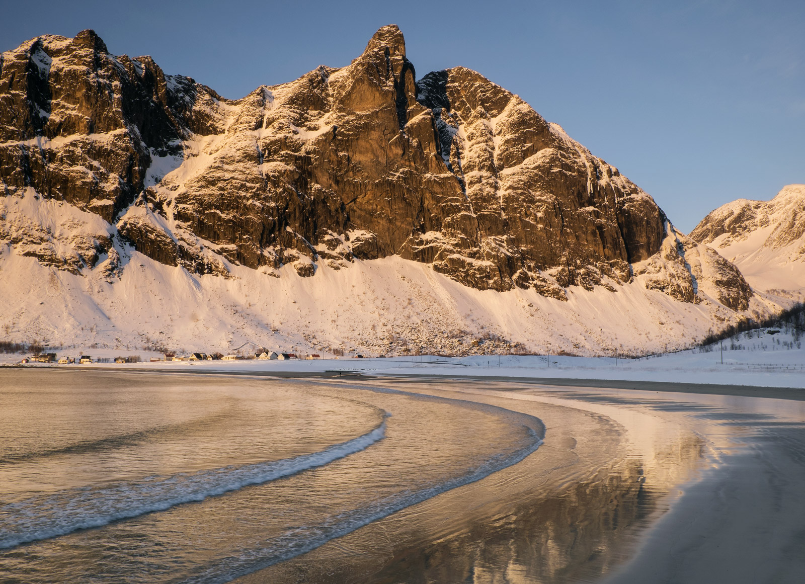 Wave Train Ersfjord, Ersfjord Senja, Norway, convex, wave, golden, reflections, sandy, beach, sunset, pinkens, snow, blu, photo