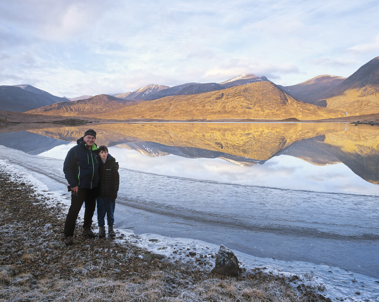 A stunning winter reflection at our wild campsite beside remote Loch Dochard. I went there with my young son Ben...