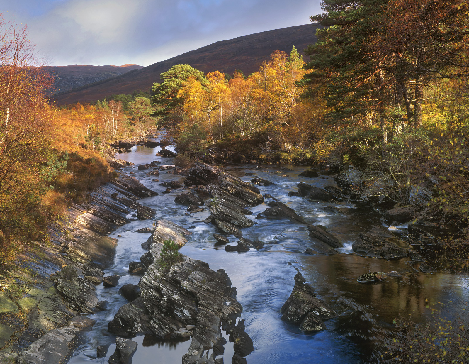 Wild River Torridon, Torridon, Ross Shire, Scotland, valley, peaks, river, gold, blue, red, browns, sky, rough, angular,, photo