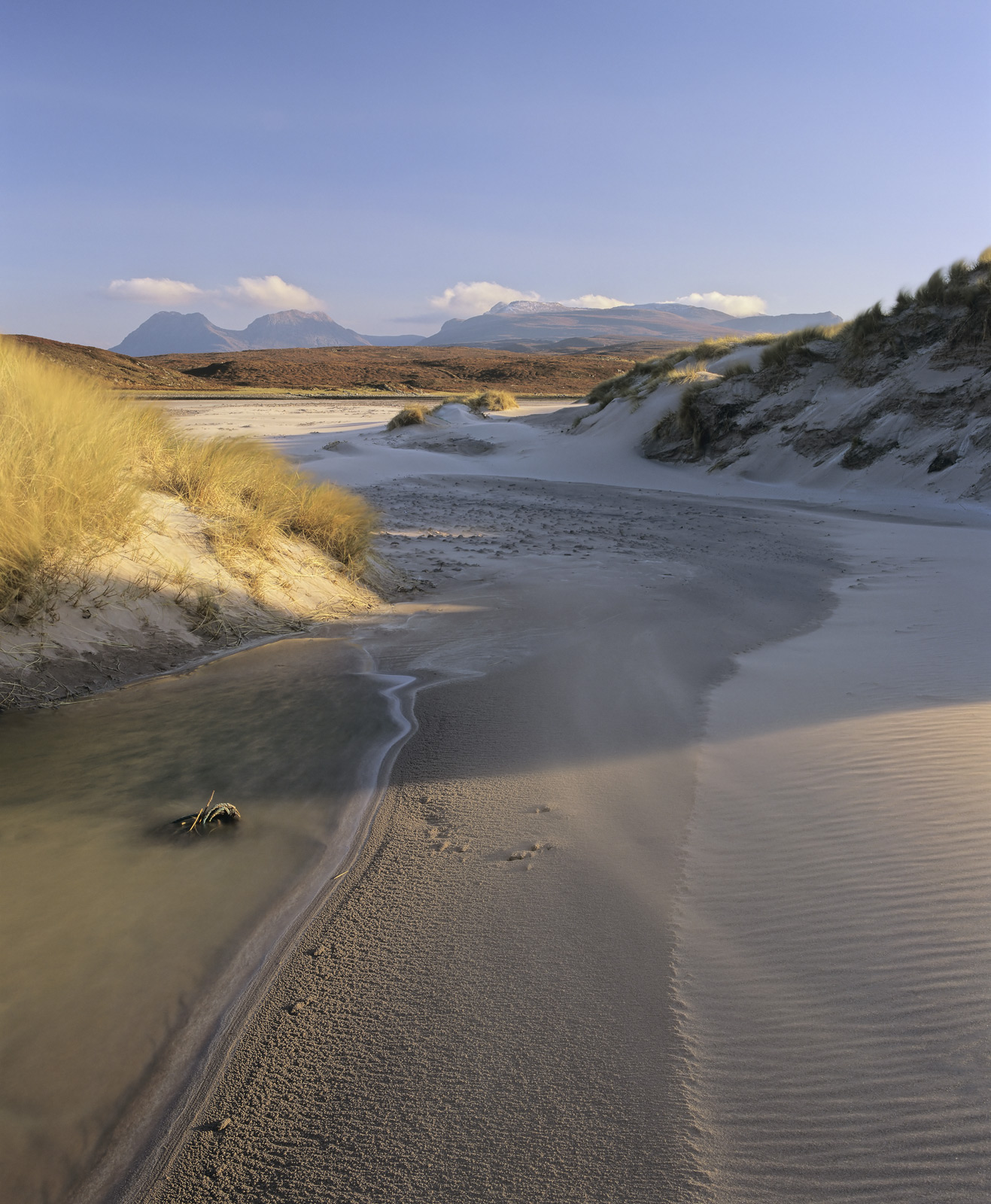 Wind Funnelled, Achnahaird Bay, Inverpolly, Scotland, coastal, whipped, loose, sand, dunes, edge, bay, ribbons, swirling, photo