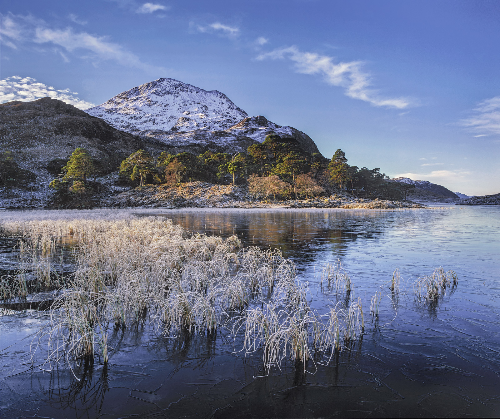 Winter Blues Loch Clair, Loch Clair, Torridon, Scotland, sunrise, coldest, air, cooling, ice, reeds, hoar frost, stems, photo