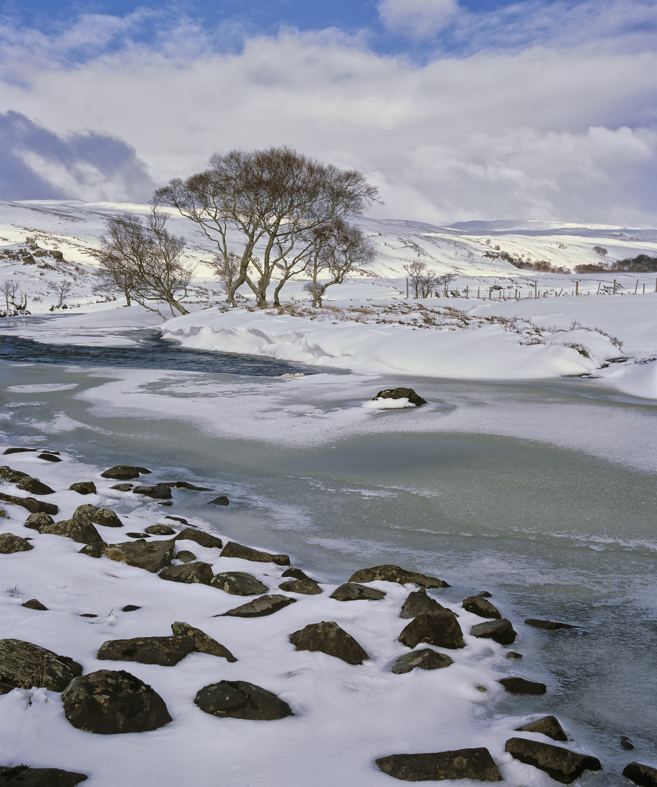 Winter Course Rhidarroch, Rhidarroch, Inverpolly, Scotland, winter, snow, river, bend, loch, drains, light, wonderland, , photo
