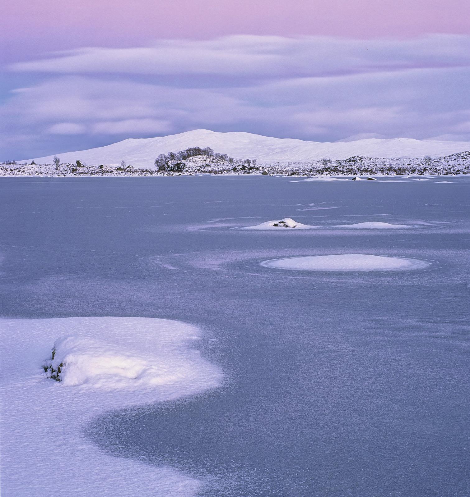 Winter Gloaming Loch Ba, Loch Ba, Rannoch Moor, Scotland, twilight, dusk, pink, blue, steely, bitterness, reflected, sno, photo
