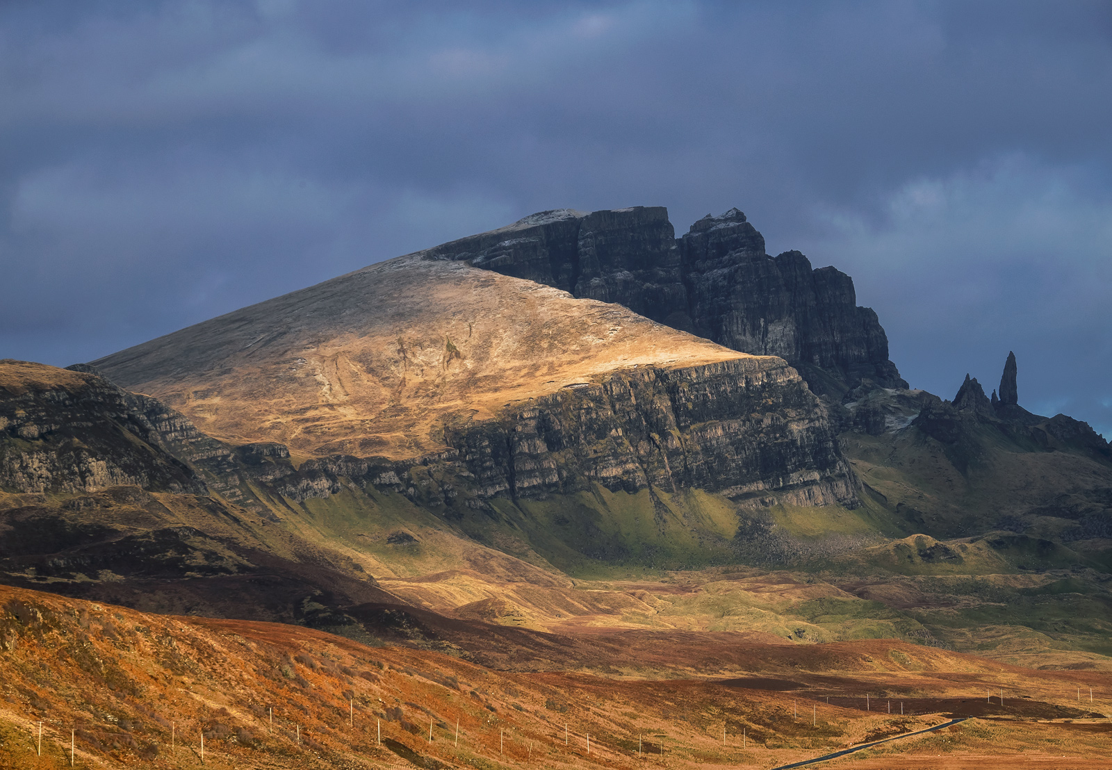 Winter Sunlight Storr Ridge, Storr, Skye, Scotland, winter, sunlight, dark, clouds, flank, Storr, Old man of Storr, ugly, photo