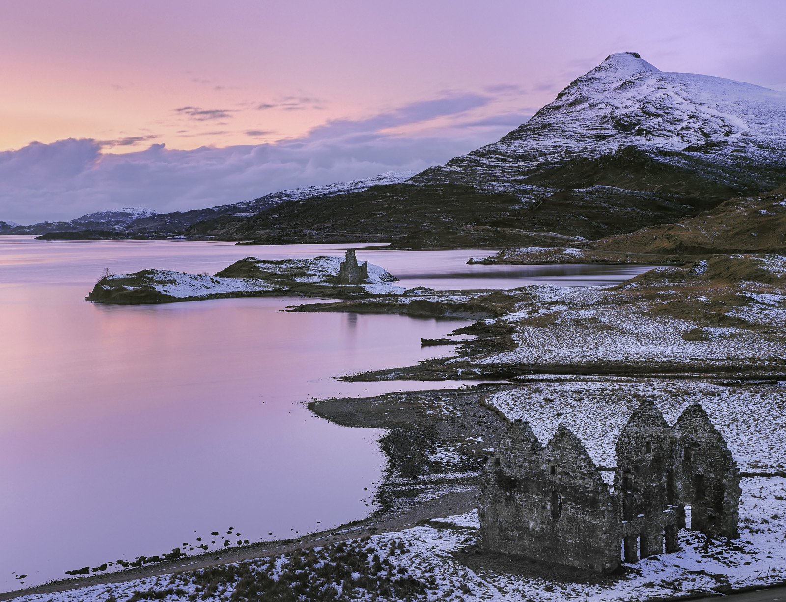 I adopted a quite unusual viewpoint to include both Ardvreck castle and the double gable ended walls of the old relic of Calda...