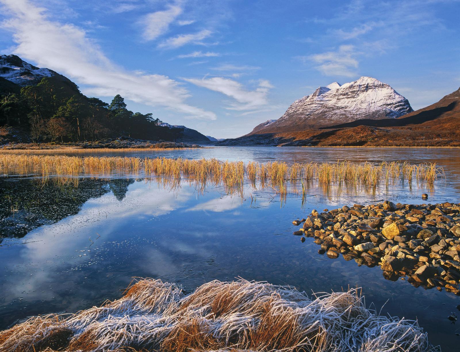 Winter's Breath Loch Clair, Loch Clair, Torridon, Scotland, perfect, winter, dawn, crispy, jacket, Liathach, golden, ree, photo
