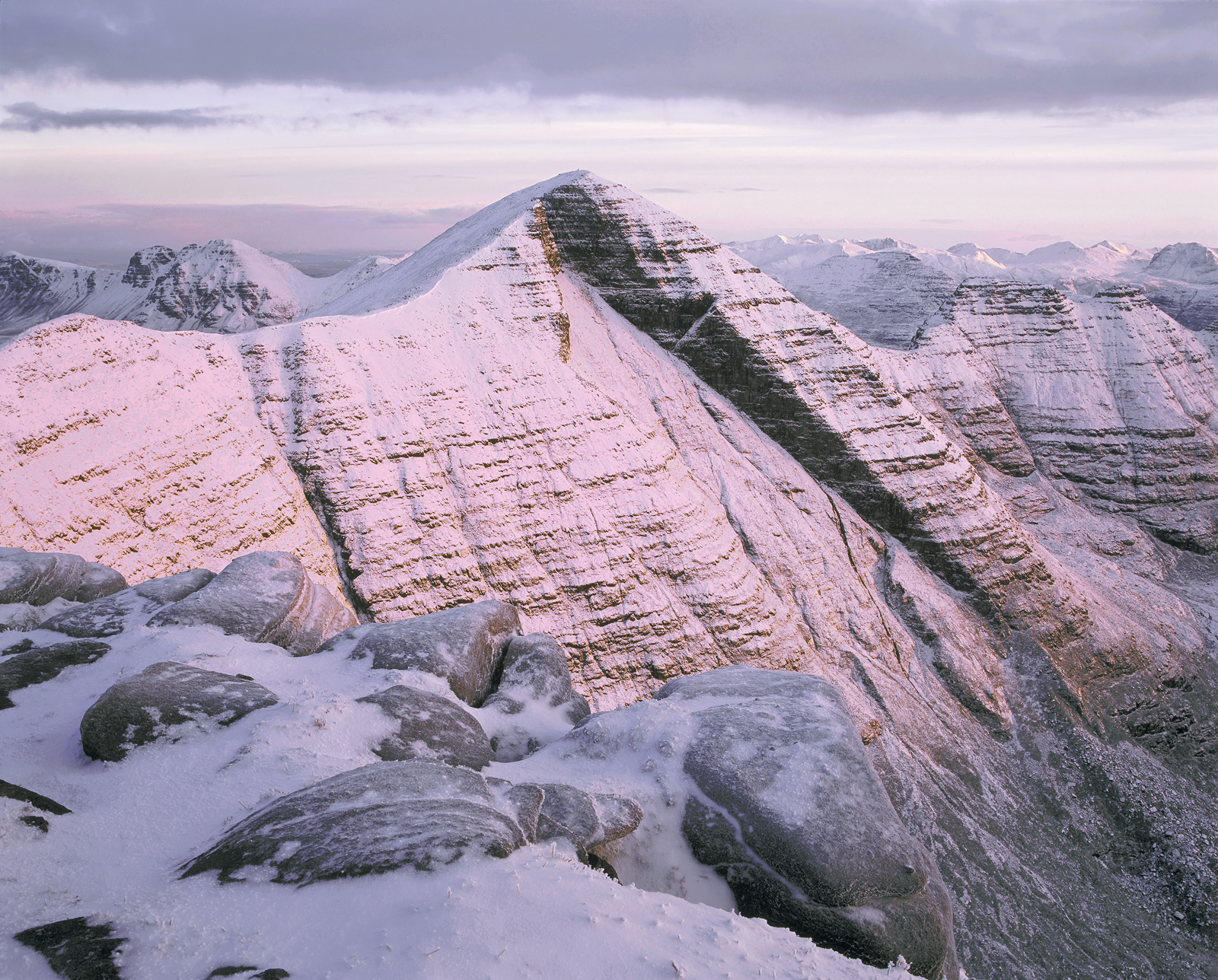 I climbed Tom Na Gruigach a munro in relatively clear conditions when there was little or no snow about and none was predicted...