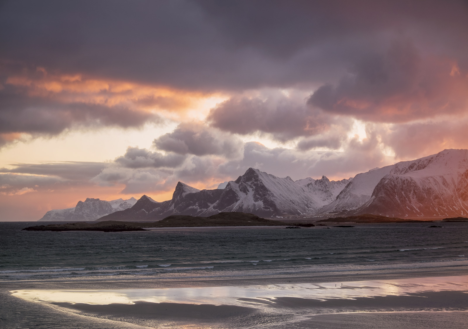 Yttresand Fire, Yttresand, Lofoten, Norway, favourite, views, sand, mountains, raspberry, blue, turquoise, grey, wet, su, photo
