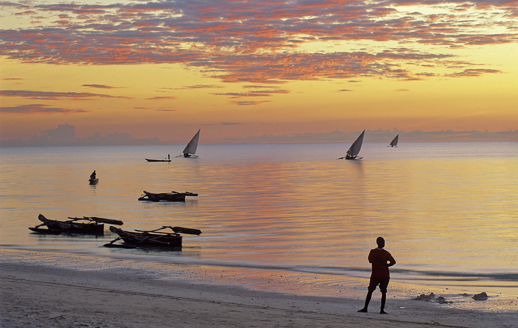 At twilight on Zanzibar's west coast all the boats had departed for night fishing their lights soon to be seen twinkling far...